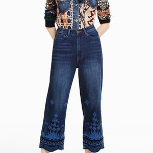 Desigual Giulia Embroidered Cropped Jeans …